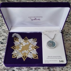 Stainless steel Snowflake Necklace /Ornament set